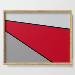 Diagonal Color Blocks in Red and Grays Serving Tray