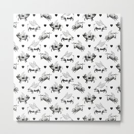 Flying Pigs | Black and White Metal Print