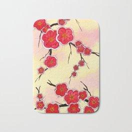 Red Japanese Cherry Blossoms Bath Mat