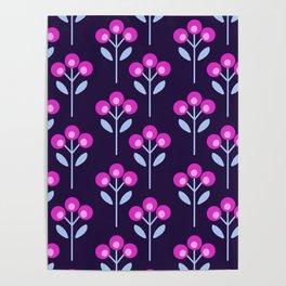 Fushia Pink Floral Poster