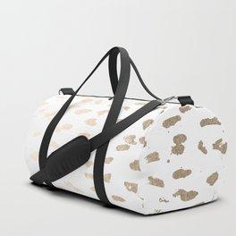 Gold Modern Polka Dots on White Duffle Bag