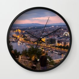 View over Budapest Wall Clock
