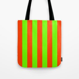 Bright Neon Green and Orange Vertical Cabana Tent Stripes Tote Bag