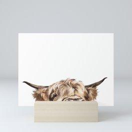 Peeking Highland Cow Mini Art Print