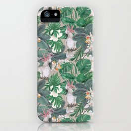 cockatoo birds and ginger, hibiscus flowers iPhone Case