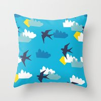 swallow Throw Pillows featuring Swallow by Maedchenwahn