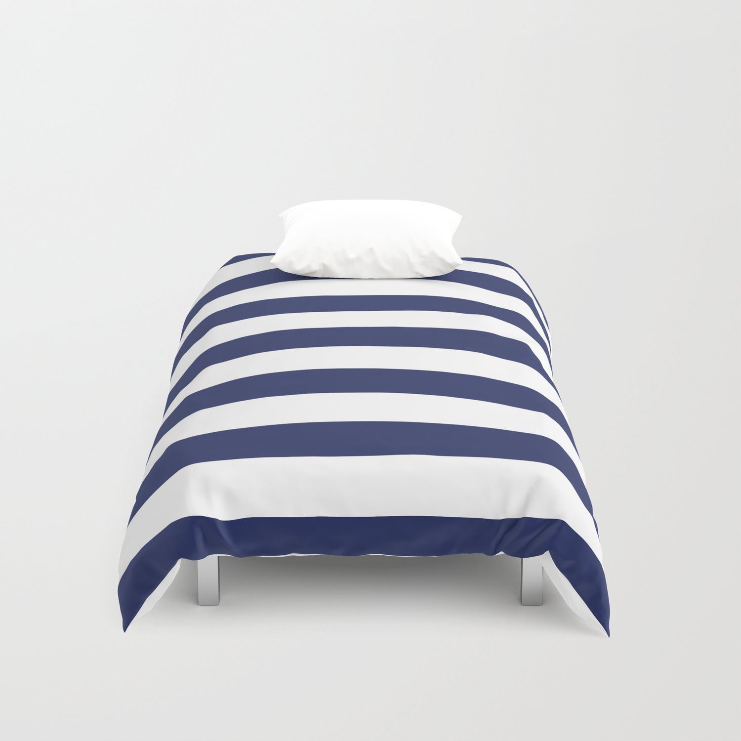 Navy Blue And White Stripes Duvet Cover By Amybrinkman Society6