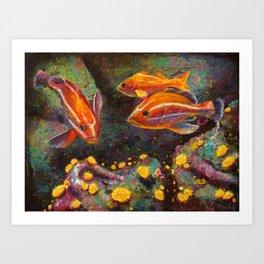 Jouvenile Rock Fish and Sea Anemones Art Print