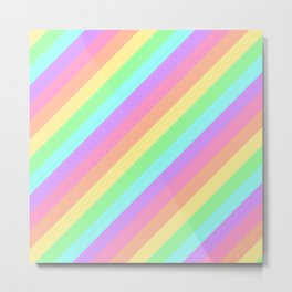 Pastel Rainbow Diagonal Stripes Metal Print