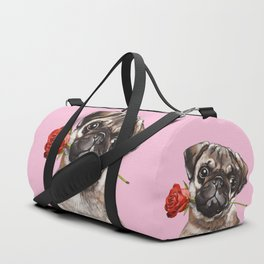 Pug with Red Rose Duffle Bag