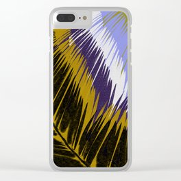 Palm Leaves Purple and Gold Clear iPhone Case