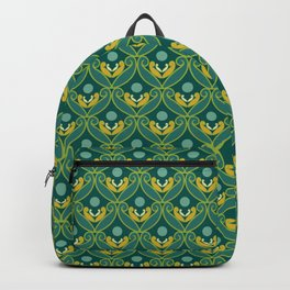 Stylized Lotus in Blue, Green and Gold Backpack