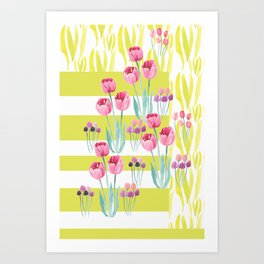 Tulips with yellow stripes Art Print
