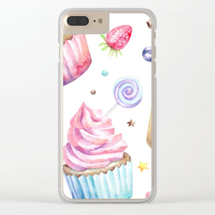 Cupcake Pattern Clear iPhone Case