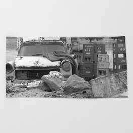 Old Abandoned Car Beach Towel