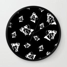 Boxer Dog Black White Wall Clock