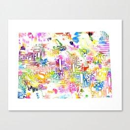 Typographic Colorado - multi rainbow watercolor map Canvas Print
