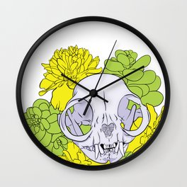 Persian Kitty Skull Wall Clock