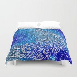 Sparkling Blue & White Peacock Duvet Cover