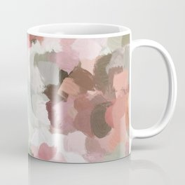 Sage Mint Green Fuchsia Blush Pink Abstract Flower Wall Art, Springtime Painting Print, Modern Wall Coffee Mug