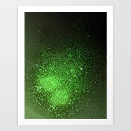 Green and Black Spray Paint Splatter Art Print