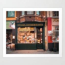 Stamp Shop in Gent Art Print