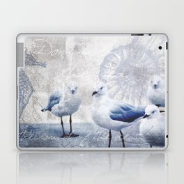 Sea gull ocean mixed media art Laptop & iPad Skin