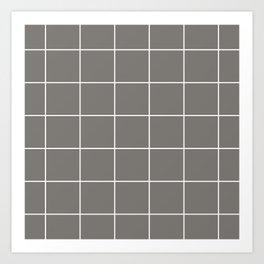 White Grid - Grey BG Art Print