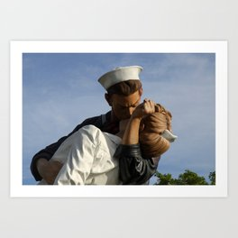 Kissing Sailor And Nurse Portrait Art Print
