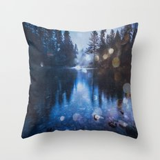 Forest Reflection Nature Lake - Magical Blue Forest Water Reflection Throw Pillow