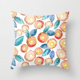 orange peony pattern Throw Pillow