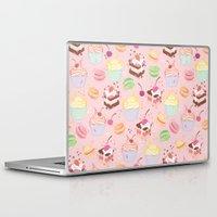 macaroon Laptop & iPad Skins featuring sweet pattern aka cake , cupcake and macaroon by Marta Olga Klara