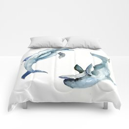 Dolphin, Two Dolphins, chidlren room decor illustration dolphin art Comforters