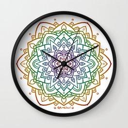 Floral Mandala A - Rainbow Line Wall Clock