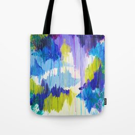 WINTER DREAMING - Jewel Tone Colorful Eggplant Plum Periwinkle Purple Chevron Ikat Abstract Painting Tote Bag