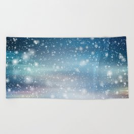 Snow Bokeh Blue Pattern Winter Snowing Abstract Beach Towel