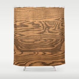 Wood 5, heavily grained wood Horizontal grain Shower Curtain