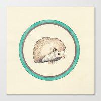hedgehog Canvas Prints featuring Hedgehog by Joan Horne
