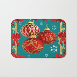 TEAL COLOR RED CHRISTMAS  ORNAMENTS &  POINSETTIAS FLOWER Bath Mat