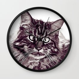 squinting maine coon cat vector art white Wall Clock
