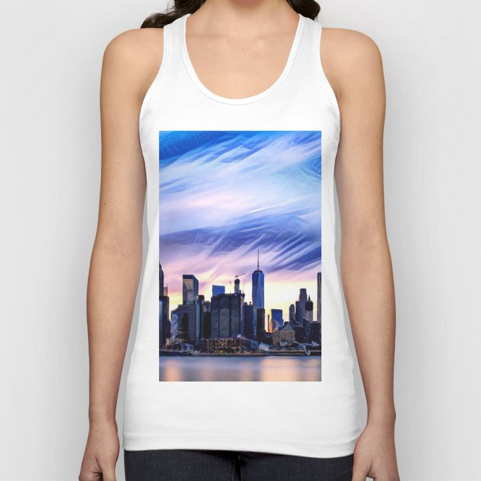 Romantic City Cityscape with Light Sunset and River Unisex Tank Top