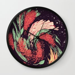 Warped Australian Wildflowers Wall Clock