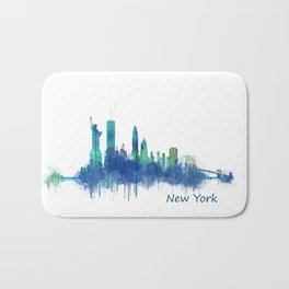 New York City Skyline Hq v06 cityscape Bath Mat