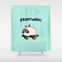 pug Shower Curtains featuring PUG. by Jarvis Glasses