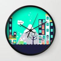 katamari Wall Clocks featuring Small Town by jusum