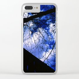 Urban maple tree in a winter evening with a city building and a cloudy sky Clear iPhone Case