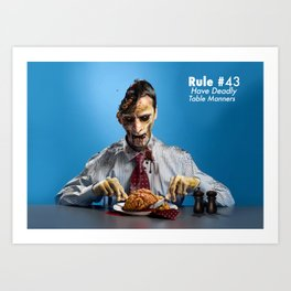 Zombie Etiquette : Table Manners Art Print