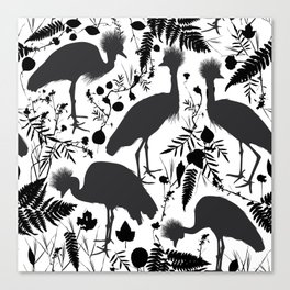 Black crowned crane with grass and flowers black silhouette Canvas Print