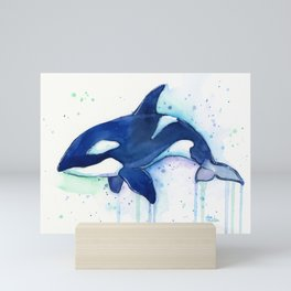Killer Whale Orca Watercolor Mini Art Print