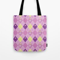 lumpy space princess Tote Bags featuring Argyle Time! (Princess Bubblegum & Lumpy Space Princess version) by Kakibot